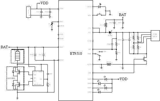 该电路集充电控制,电能输出控制,及附加照明功能于一体,并且该电路